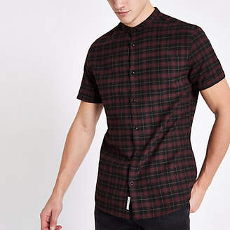 River Island Mens Dark Red check grandad collar shirt