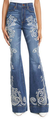 Alice + Olivia AO.LA by Alice+Olivia Beautiful Embellished High-Rise Bell-Bottom Jeans