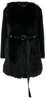 Blancha collarless fur coat