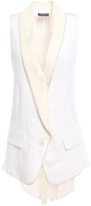 Ann Demeulemeester Embroidered Gauze-paneled Hemp-twill Vest