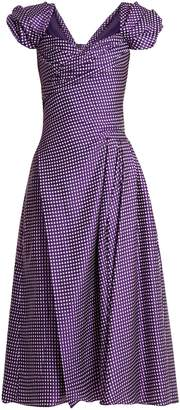 Carolina Herrera Sweetheart-neckline, puff-sleeve gingham dress