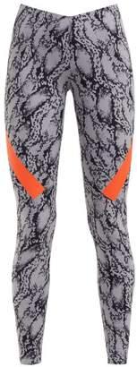 adidas by Stella McCartney Alpha Snake Print Stretch Leggings - Womens - Grey Print