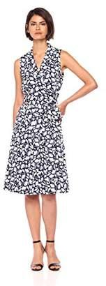 Anne Klein Women's Cotton Notch-Collar Wrap-Front Dress