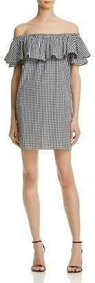 AQUA Gingham Off-the-Shoulder Dress - 100% Exclusive $68 thestylecure.com