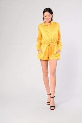 Glamorous Petites **Satin Button Front Playsuit by Petite