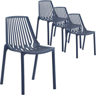 Webster Temple & Set of 4 Indigo Slouch UV-Stabilised Outdoor Dining Chairs