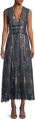 J. Mendel V-Neck Sleeveless Metallic Embroidered Lace Cocktail Dress