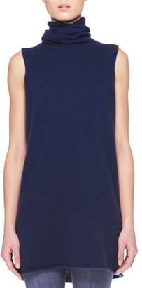 The Row Leond Sleeveless Cashmere-Silk Turtleneck Top