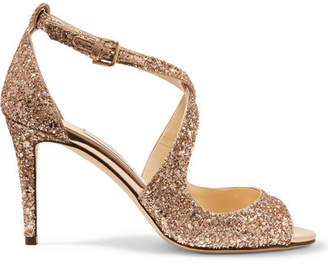 0033204ad56 ... Jimmy Choo Emily 85 Glittered Leather Sandals - Bronze