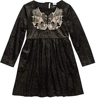 Billieblush KIDS' EMBROIDERED METALLIC VELVET DRESS