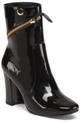 Patent Leather High Ankle Block Heel Booties
