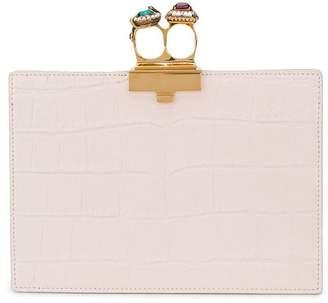 Alexander McQueen double ring jewel flat clutch