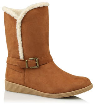 George Tan Fleece Lined Mid Calf Boots