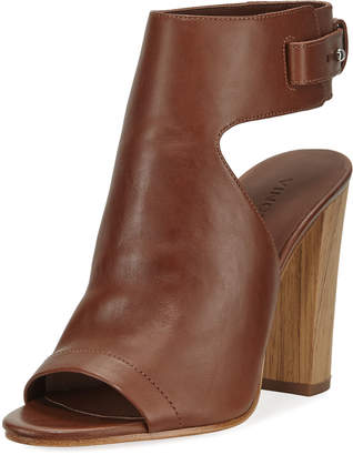 Vince Addie Leather Open-Toe Booties, Saddle