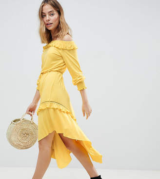 Asos DESIGN Petite Off Shoulder Shirred Cuff Midi Tea Dress