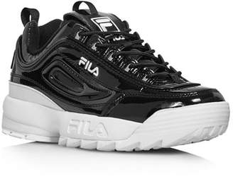 Fila Women's Disruptor II Round Toe Patent Leather Platform Dad Sneaker
