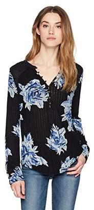 Lucky Brand Women's Blossom Print Henley Top