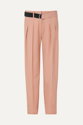 Victoria Beckham Victoria, Belted Pleated Wool-cady Tapered Pants - Peach