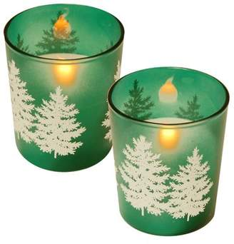 Lumabase 2-Piece-Battery Operated Candles in Glass Holders, Green Pines