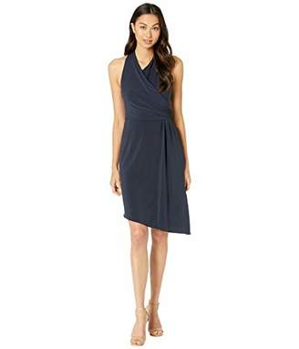 Halston Women's Sleeveless Asymmetrical WRAP Jersey Dress