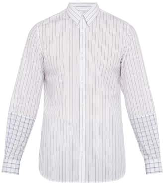 Stella McCartney Contrast Panel Striped And Checked Cotton Shirt - Mens - White