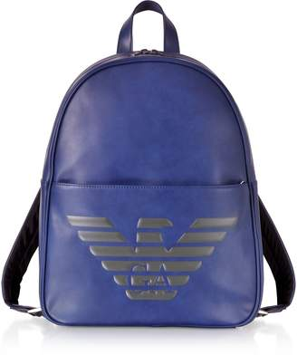 Emporio Armani Blue Eagle Embossed Eco Leather Men s Backpack 7effc16558187