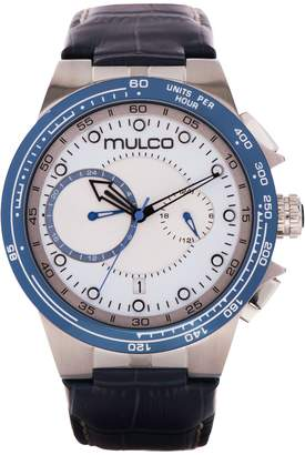 Mulco Watches Inc Lyon Men's Watch- Blue Leather Band- Stainless Steel- Water Resistant- MW3-16106-141