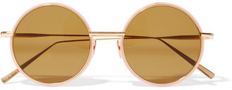 Scientist Round-frame Matte-acetate And Gold-tone Sunglasses - Blush
