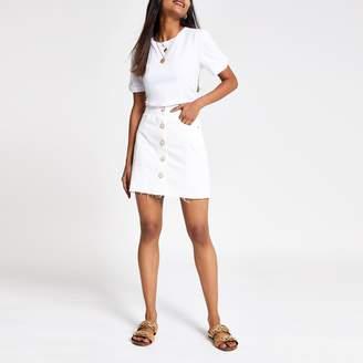 65f55af187 River Island Womens Petite White button front denim mini skirt