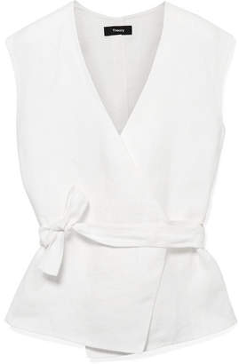 Theory Linen And Cotton-blend Wrap Top - White