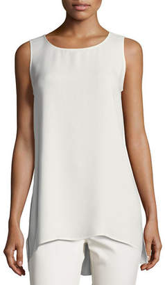 Lafayette 148 New York Plus Size Ruthie Sleeveless High-Low Silk Blouse