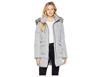 Andrew Marc Astoria Down Filled Anorak with Faux Fur Trim Hood Patch Pockets