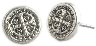 My Saint My Hero Benedictine Silvertone Stud Earrings