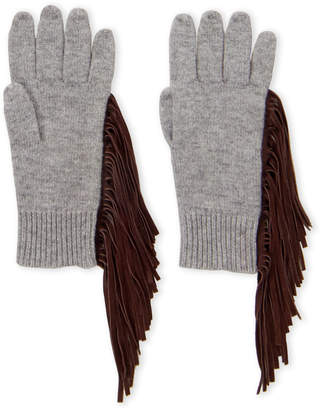 Autumn Cashmere Suede Fringed Cashmere Gloves