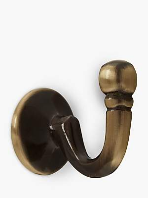 John Lewis & Partners Regency Tieback Hooks, Pair, Antique Brass