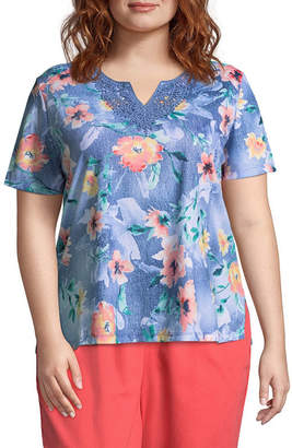 Alfred Dunner Sun City Floral Lace Tee- Plus