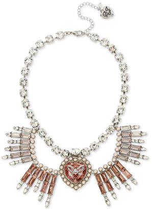 """Betsey Johnson Silver-Tone Crystal & Imitation Pearl Bow Heart Statement Necklace, 16"""" + 3"""" extender"""