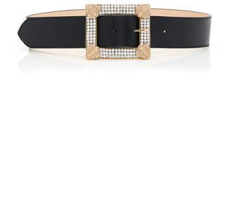 Alessandra Rich Crystal-Embellished Leather Belt