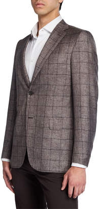 Brioni Men's Windowpane Two-Button Jacket