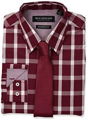 Nick Graham Men's Graph Bufallo Dress Shirt with Tie Set