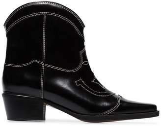 Ganni black Meg 50 leather ankle boots