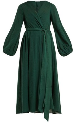 Kalita - Gaia Cotton Gauze Wrap Dress - Womens - Dark Green
