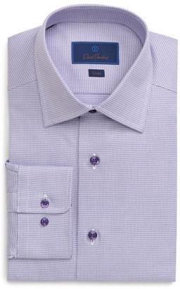 David Donahue Slim Fit Crosshatch Pattern Dress Shirt