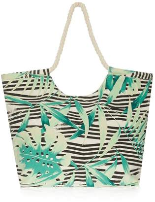 74396d00b South Beach Womens Tropical Striped Print Beach Bag - Green