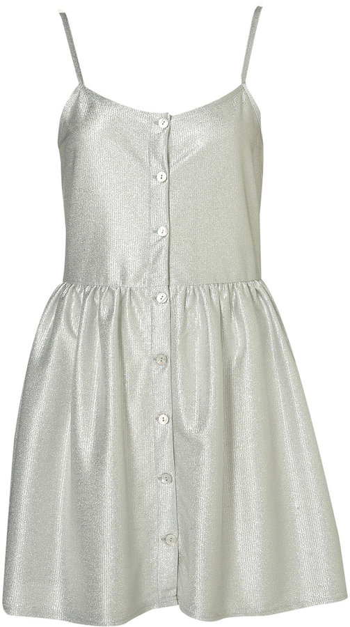 Strappy Metallic Button Dress