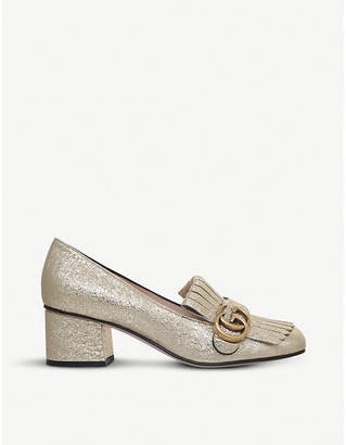 Gucci Marmont 55 metallic-leather loafers