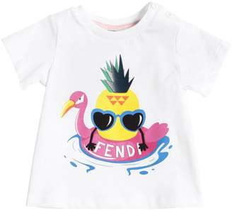 Fendi Pineapple Print Cotton Jersey T-Shirt