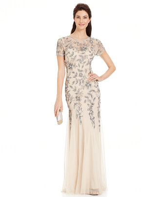 Adrianna Papell Floral-Beaded Mermaid Gown $300 thestylecure.com