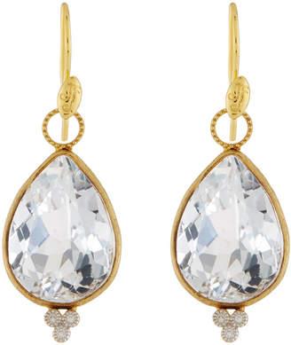 Jude Frances 18K Provence Large Pear Earrings, White Topaz