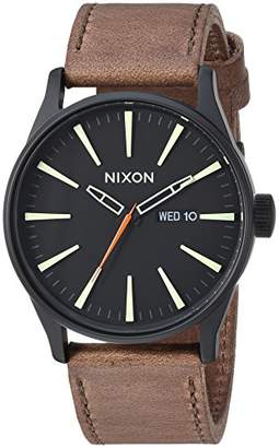 Nixon Men's 'Sentry Leather' Quartz Stainless Steel Casual Watch